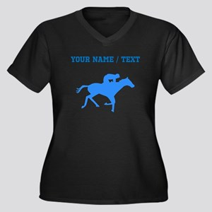 Custom Blue Horse Racing Silhouette Plus Size T-Sh