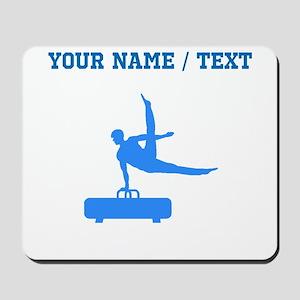 Custom Blue Pommel Horse Silhouette Mousepad