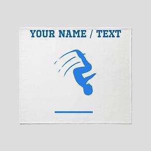 Custom Blue Gymnast Silhouette Throw Blanket