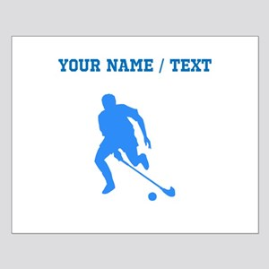 Custom Blue Field Hockey Player Silhouette Posters