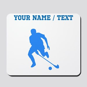 Custom Blue Field Hockey Player Silhouette Mousepa