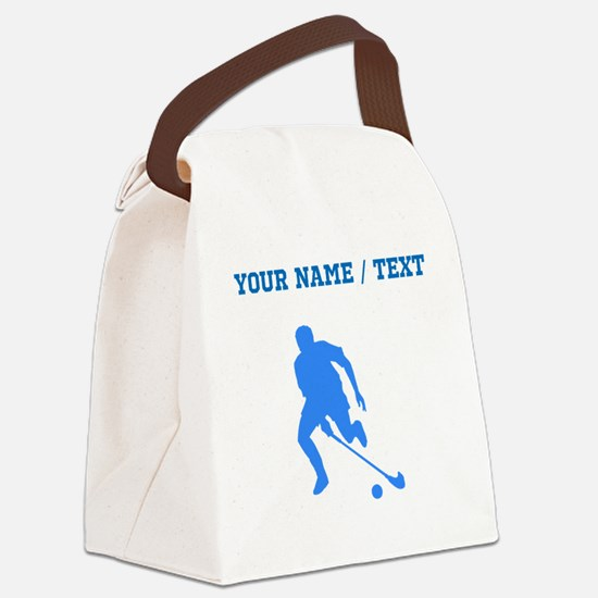 Custom Blue Field Hockey Player Silhouette Canvas