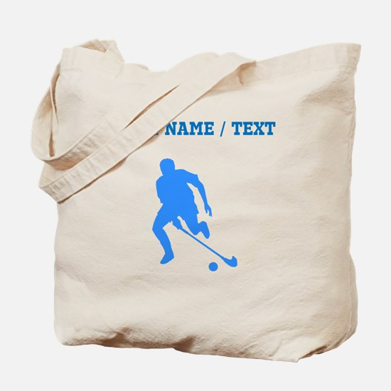 Custom Blue Field Hockey Player Silhouette Tote Ba