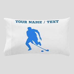 Custom Blue Field Hockey Player Silhouette Pillow