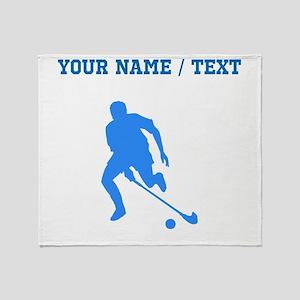 Custom Blue Field Hockey Player Silhouette Throw B