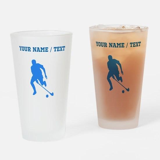 Custom Blue Field Hockey Player Silhouette Drinkin