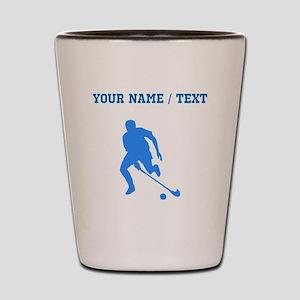 Custom Blue Field Hockey Player Silhouette Shot Gl