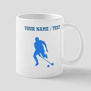 Custom Blue Field Hockey Player Silhouette Mugs