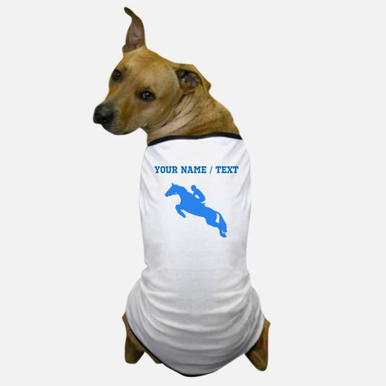 Custom Blue Equestrian Horse Silhouette Dog T-Shir