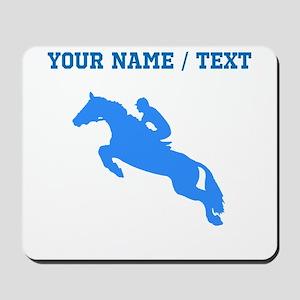 Custom Blue Equestrian Horse Silhouette Mousepad