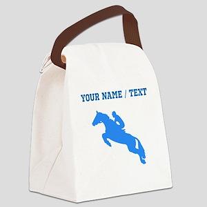 Custom Blue Equestrian Horse Silhouette Canvas Lun