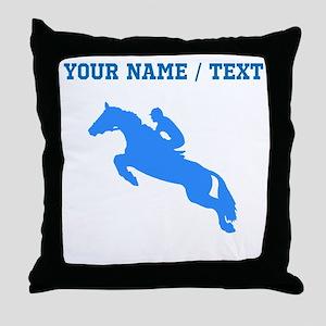 Custom Blue Equestrian Horse Silhouette Throw Pill