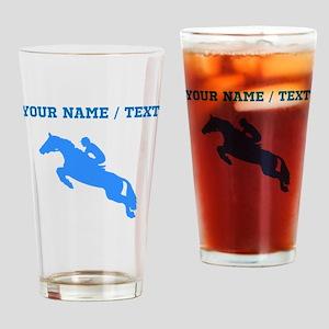Custom Blue Equestrian Horse Silhouette Drinking G