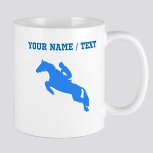 Custom Blue Equestrian Horse Silhouette Mugs