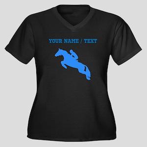 Custom Blue Equestrian Horse Silhouette Plus Size