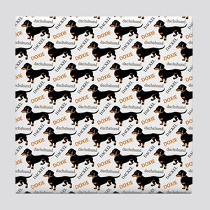 Dachshund Pattern Tile Coaster