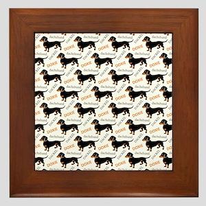 Dachshund Pattern Framed Tile