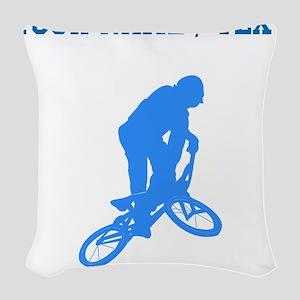 Custom Blue BMX Biker Silhouette Woven Throw Pillo