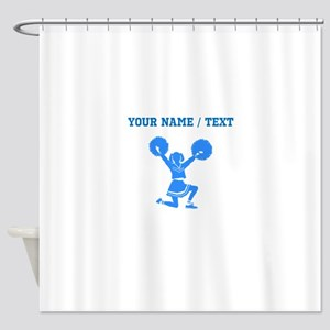 Custom Blue Cheerleader Shower Curtain