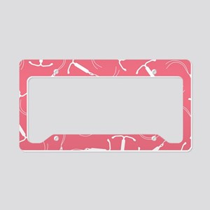 Pink IUD Pattern License Plate Holder