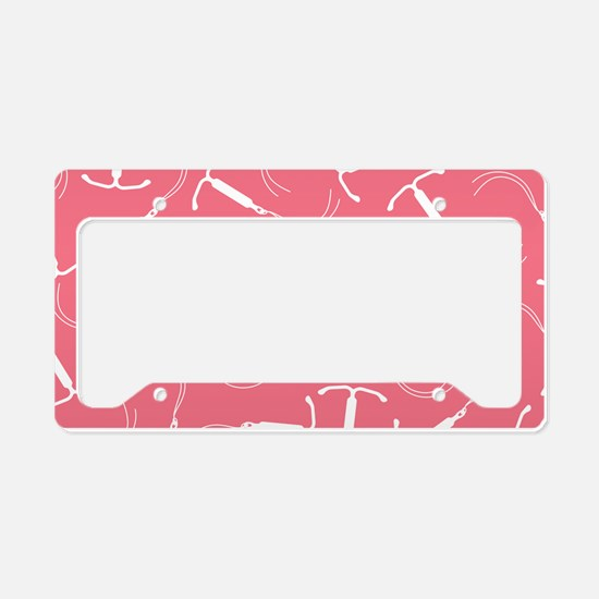 Pink IUD Pattern License Plate Holder