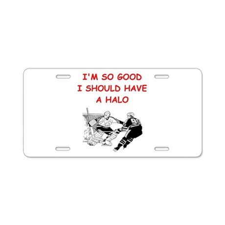 hockey joke Aluminum License Plate by HockeyHeroes