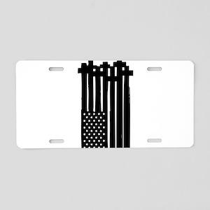 American Flag Crosses Aluminum License Plate