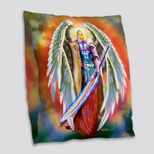 Angel Michael Burlap Throw Pillow
