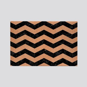 CHEVRON3 BLACK MARBLE & NATURAL R Rectangle Magnet