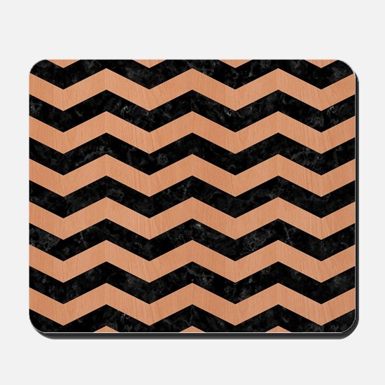 CHEVRON3 BLACK MARBLE & NATURAL RED BIRC Mousepad