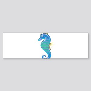 Blue Lavender Stained Glass Seahor Bumper Sticker