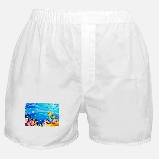Undersea Coral, Fish Seahorses Boxer Shorts
