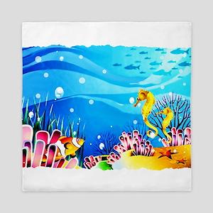 Undersea Coral, Fish Seahorses Queen Duvet