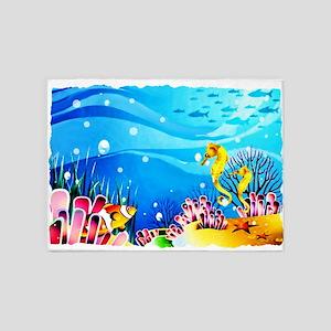 Undersea Coral, Fish Seahorses 5'x7'Area Rug