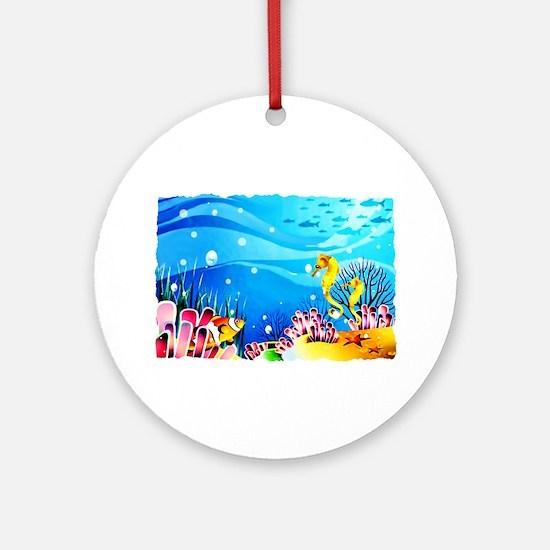 Undersea Coral, Fish Seahorses Ornament (Round)