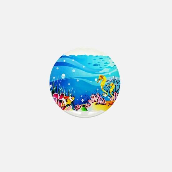 Undersea Coral, Fish Seahorses Mini Button