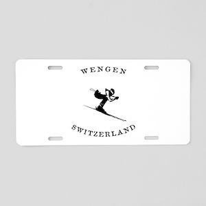 Wengen Switzerland Ski Aluminum License Plate