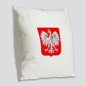 Polska Football Coat of Arms E Burlap Throw Pillow