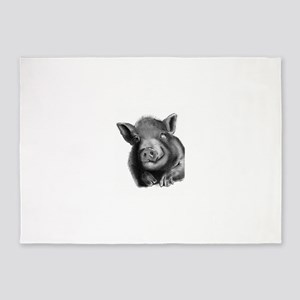 Lucy the wonder pig 5'x7'Area Rug