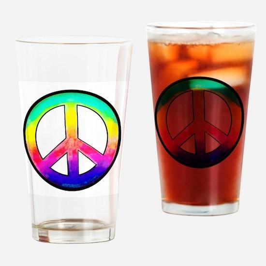 Multi-color Peace Symbol Drinking Glass