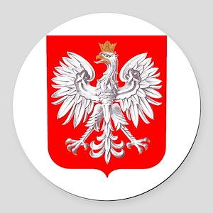 Polska Football Coat of Arms Euro Round Car Magnet