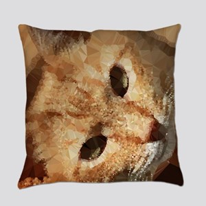 Tabby Cat Low Poly Triangles Everyday Pillow