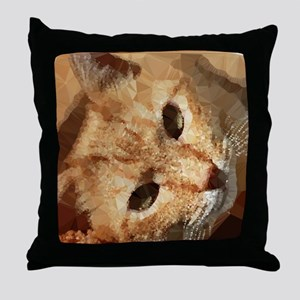 Tabby Cat Low Poly Triangles Throw Pillow
