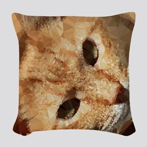 Tabby Cat Low Poly Triangles Woven Throw Pillow