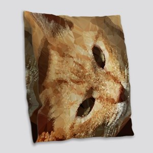 Tabby Cat Low Poly Triangles Burlap Throw Pillow