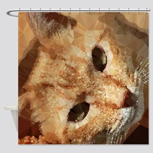 Tabby Cat Low Poly Triangles Shower Curtain