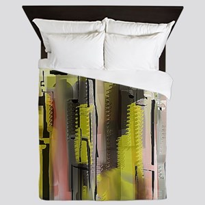 Decorative City in Yellow and Red Queen Duvet