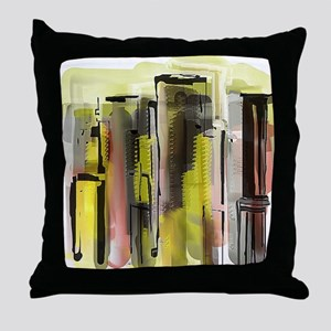 Decorative City in Yellow and Red Throw Pillow