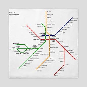 Boston Rapid Transit Map Subway Metro Queen Duvet