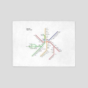 Boston Rapid Transit Map Subway Met 5'x7'Area Rug